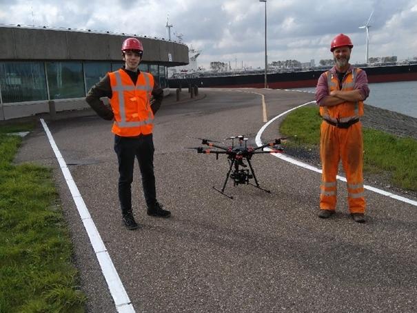 Drone-inspectie dijkbekleding Maeslandtkering geslaagd