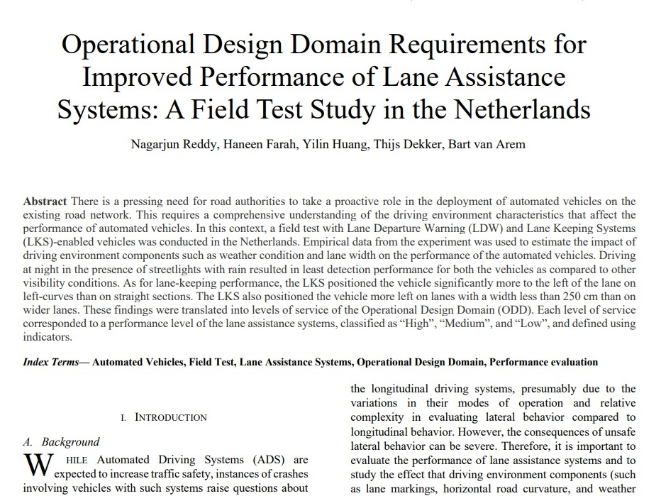Operational Design Domain Requirements for Improved Performance of Lane Assistance Systems