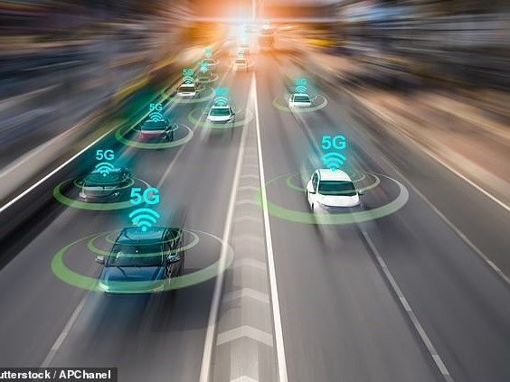 Cars of the future could use 5G to 'talk' to each other and make drivers aware of upcoming hazards.