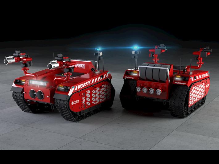 Robot op rupsbanden schiet brandweer te hulp.