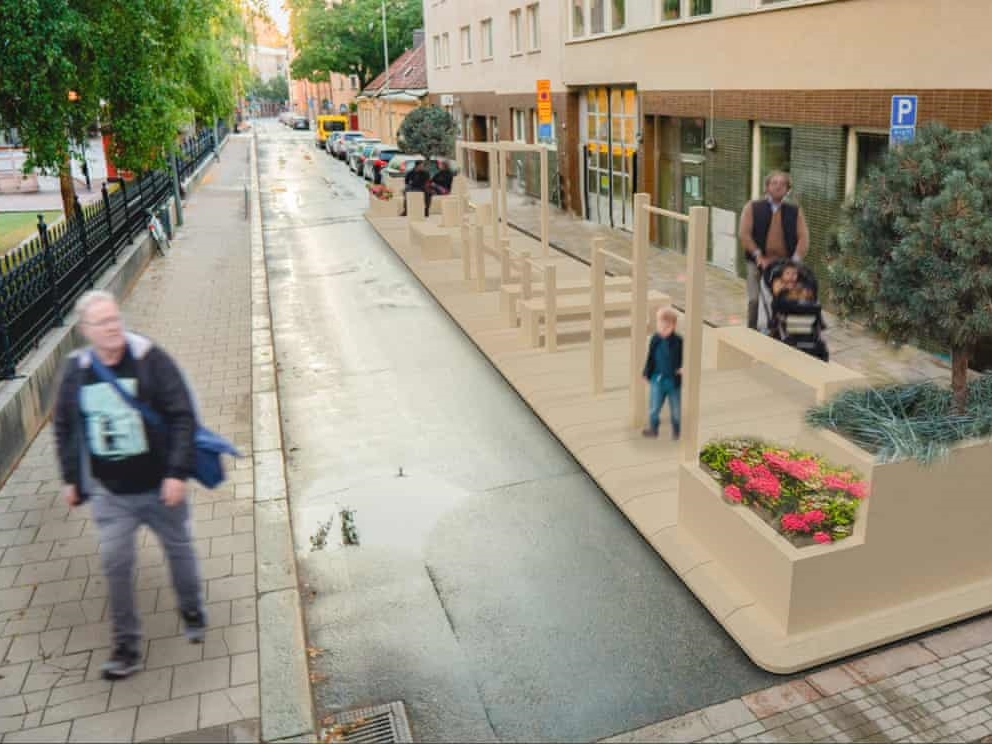 How Sweden is taking back parking spaces to improve urban living